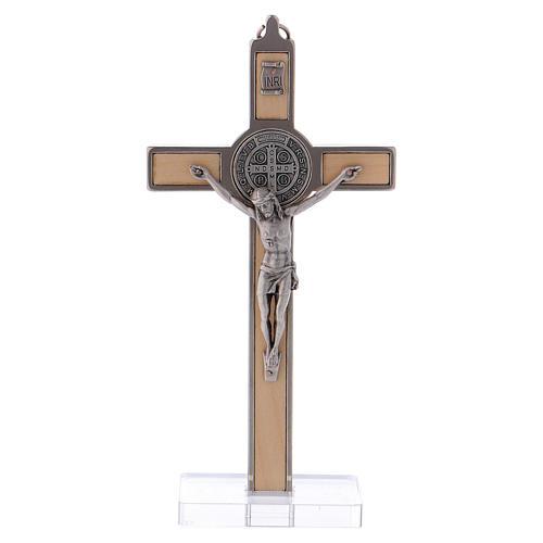 Croce San Benedetto Legno d'acero con base 16x8 cm 1