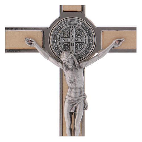 Croce San Benedetto Legno d'acero con base 16x8 cm 2