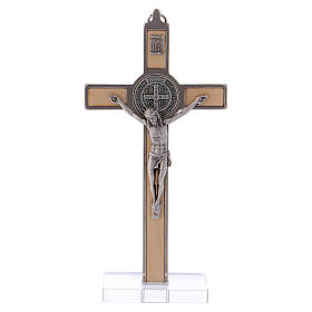St. Benedict Cross in maple wood with base, 16x8 cm s1