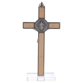 St. Benedict Cross in maple wood with base, 16x8 cm s4