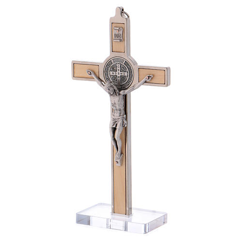 St. Benedict Cross in maple wood with base, 16x8 cm 3