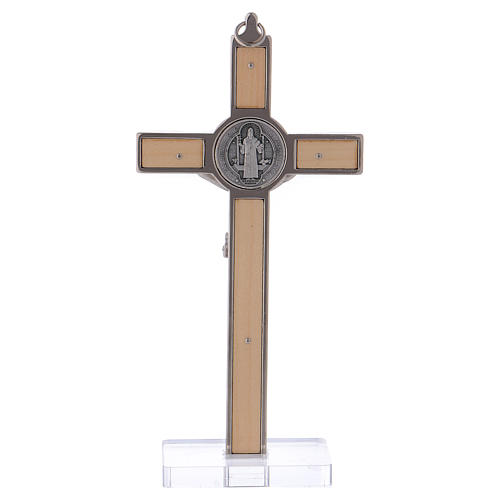 St. Benedict Cross in maple wood with base, 16x8 cm 4