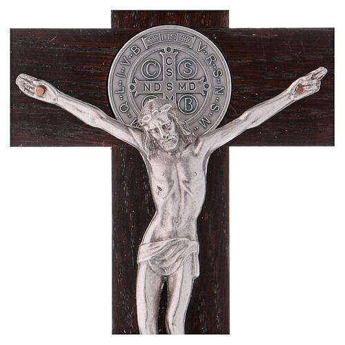 Kreuz von Sankt Benedikt aus Nussbaumholz, 25 x 12 cm