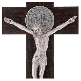 Croix Saint Benoît bois de noyer 25x12 cm s2