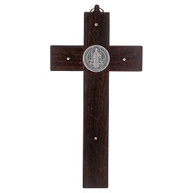 Croix Saint Benoît bois de noyer 25x12 cm s4