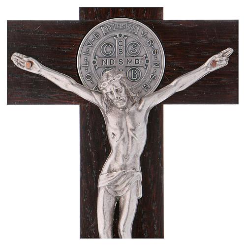 Croix Saint Benoît bois de noyer 25x12 cm 2