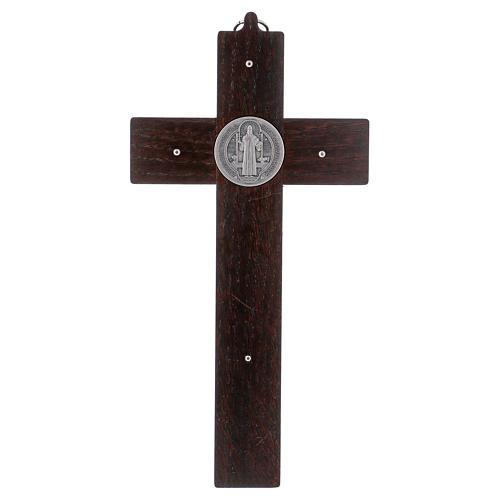 Croix Saint Benoît bois de noyer 25x12 cm 4
