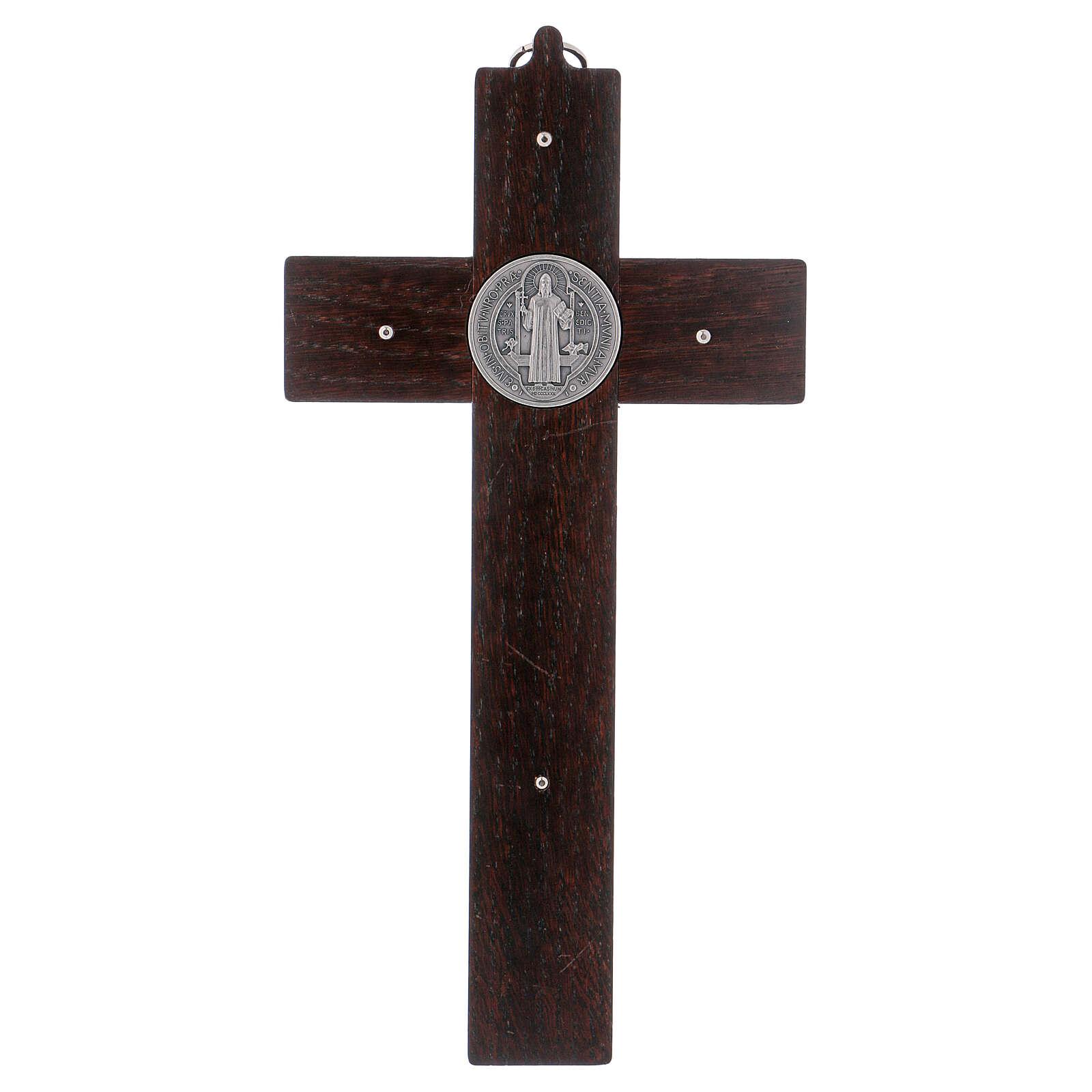 Cruz São Bento madeira de nogueira 25x12 cm 4