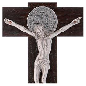 Cruz São Bento madeira de nogueira 25x12 cm s2