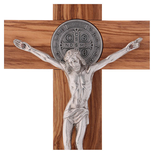 St. Benedict Cross in olive wood 25x12 cm 2