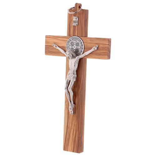 St. Benedict Cross in olive wood 25x12 cm 3