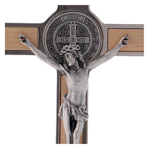 Kreuz von Sankt Benedikt aus Ahornholz, 20 x 10 cm