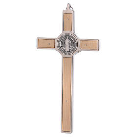 St. Benedict Cross in maple wood, 20x10 cm s4