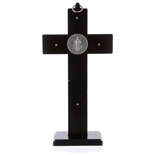 Croix Saint Benoît bois couleur noyer avec base 25x12 cm 4