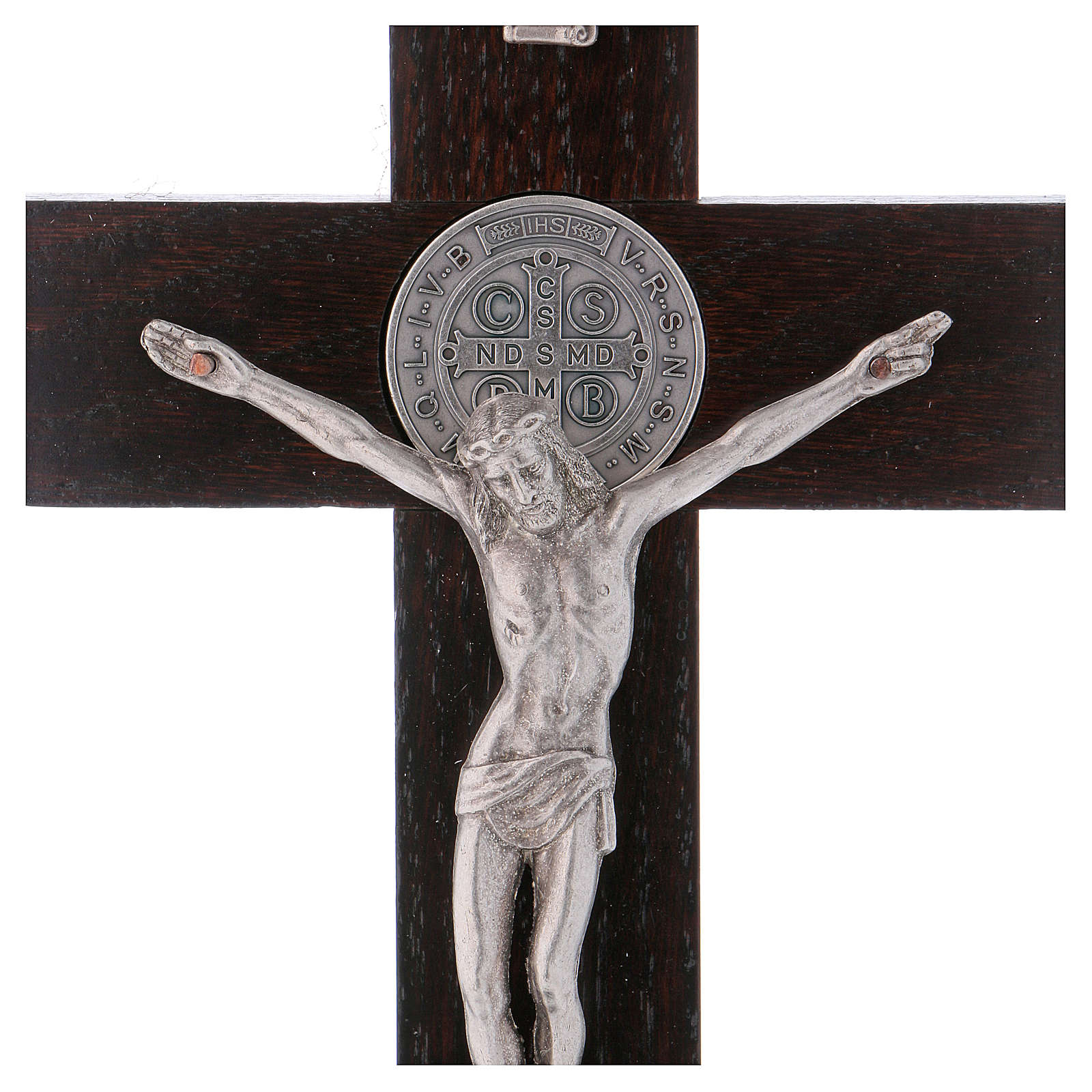 Krzyż Świętego Benedykta drewno malowane kolor orzechowy z podstawą 25x12 cm 4