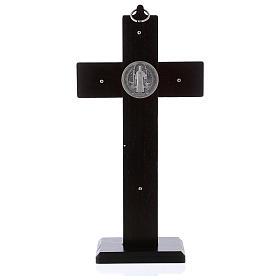 Krzyż Świętego Benedykta drewno malowane kolor orzechowy z podstawą 25x12 cm s4