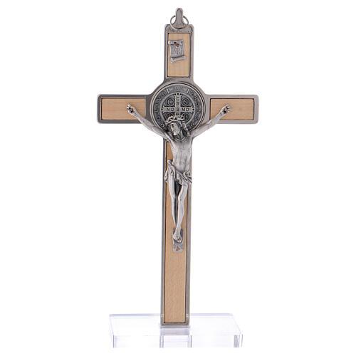 Kreuz von Sankt Benedikt aus Ahornholz mit Sockel, 20 x 10 cm