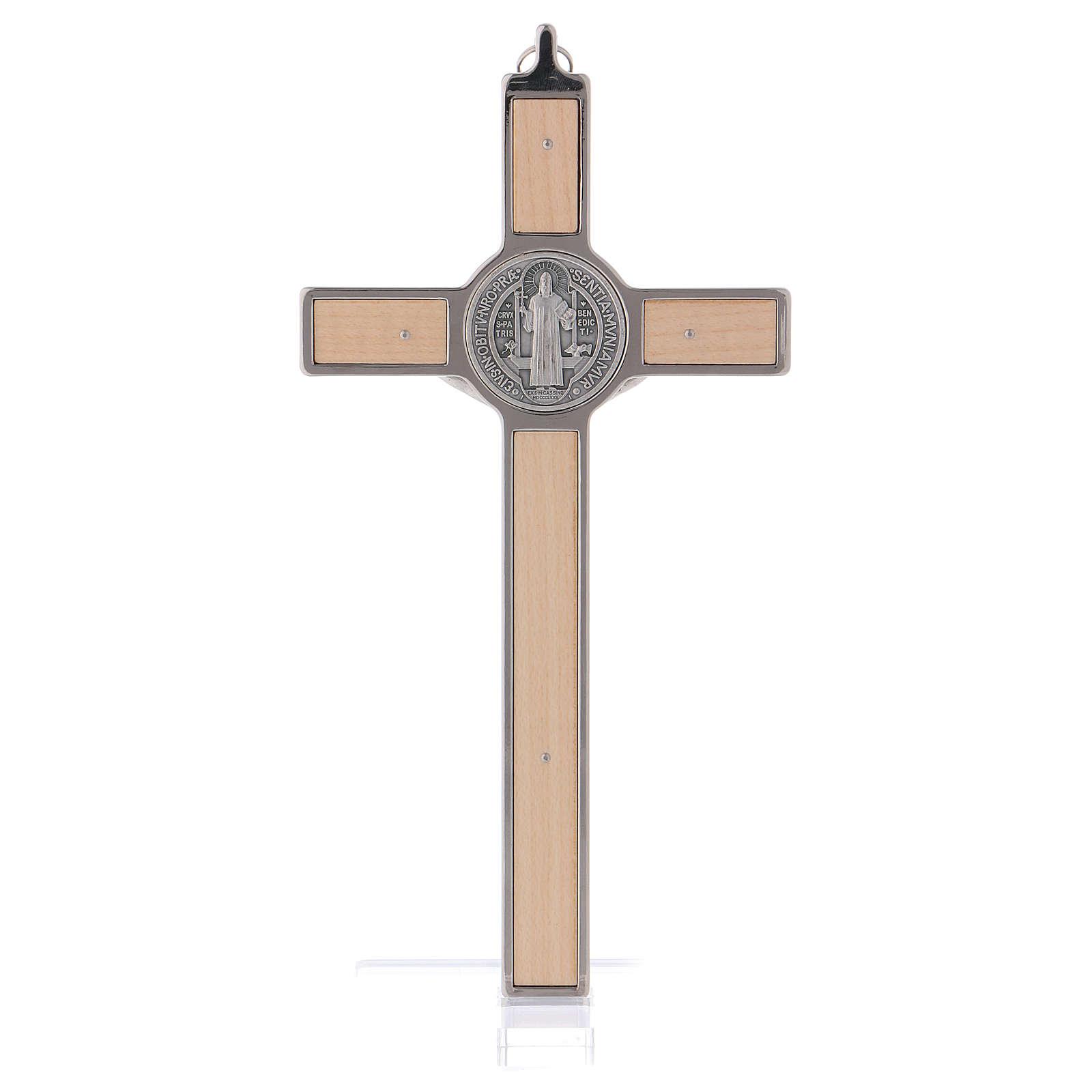 Croce San Benedetto Legno d'acero con base 20x10 cm 4
