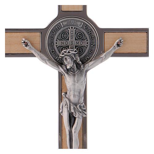 Croce San Benedetto Legno d'acero con base 20x10 cm 2