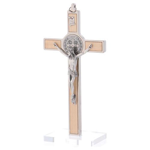 Croce San Benedetto Legno d'acero con base 20x10 cm 3