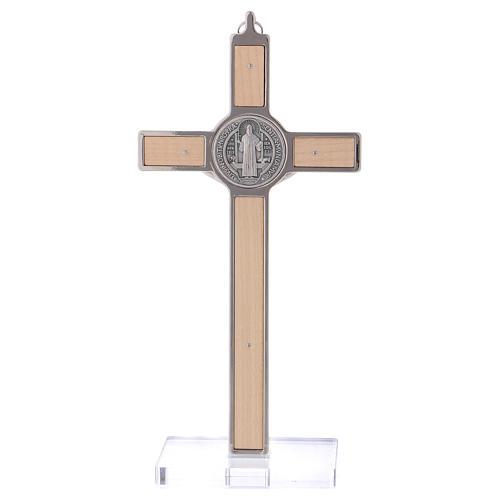 Croce San Benedetto Legno d'acero con base 20x10 cm 5