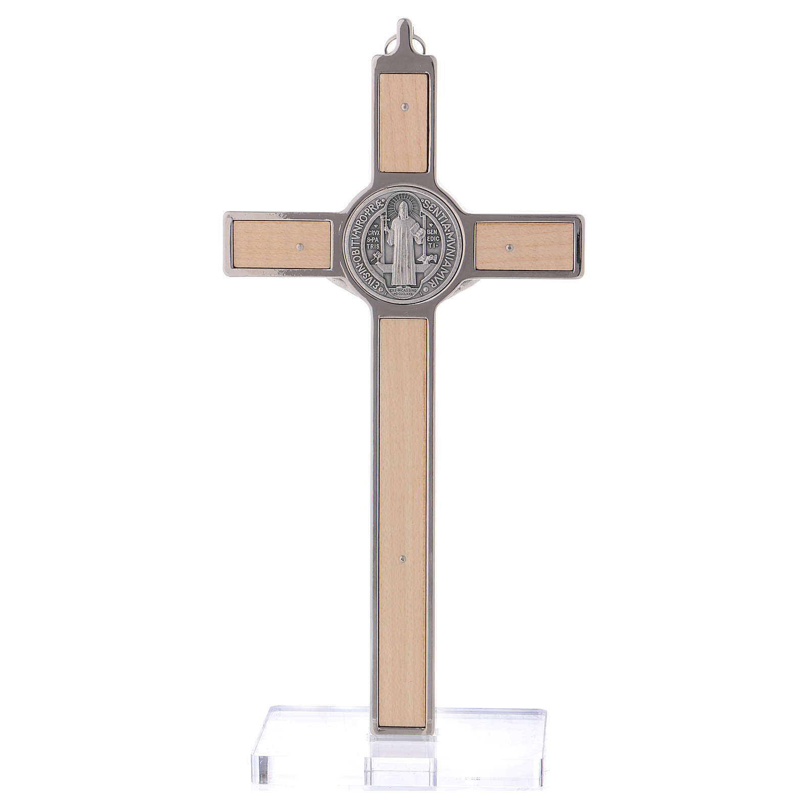 St. Benedict Cross in maple wood with base, 20x10 cm 4