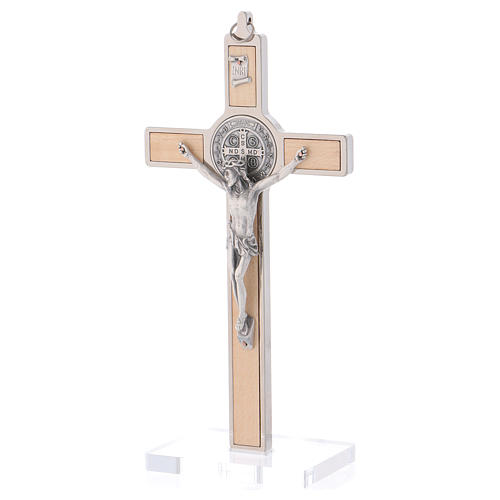 St. Benedict Cross in maple wood with base, 20x10 cm 3