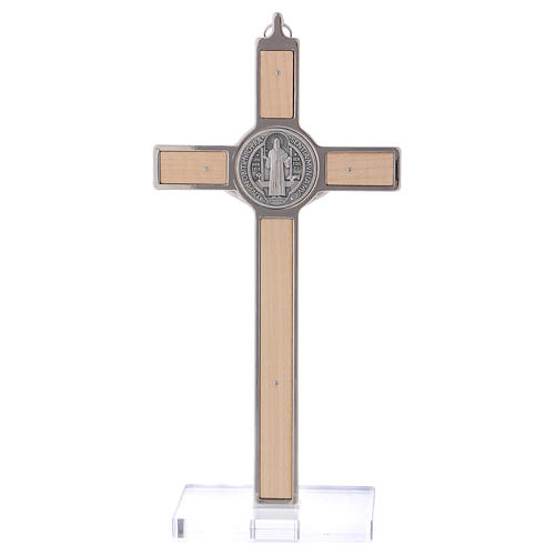 St. Benedict Cross in maple wood with base, 20x10 cm 5