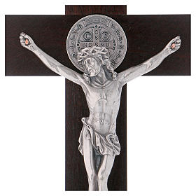 St. Benedict's cross in painted wood 30x15 cm s2
