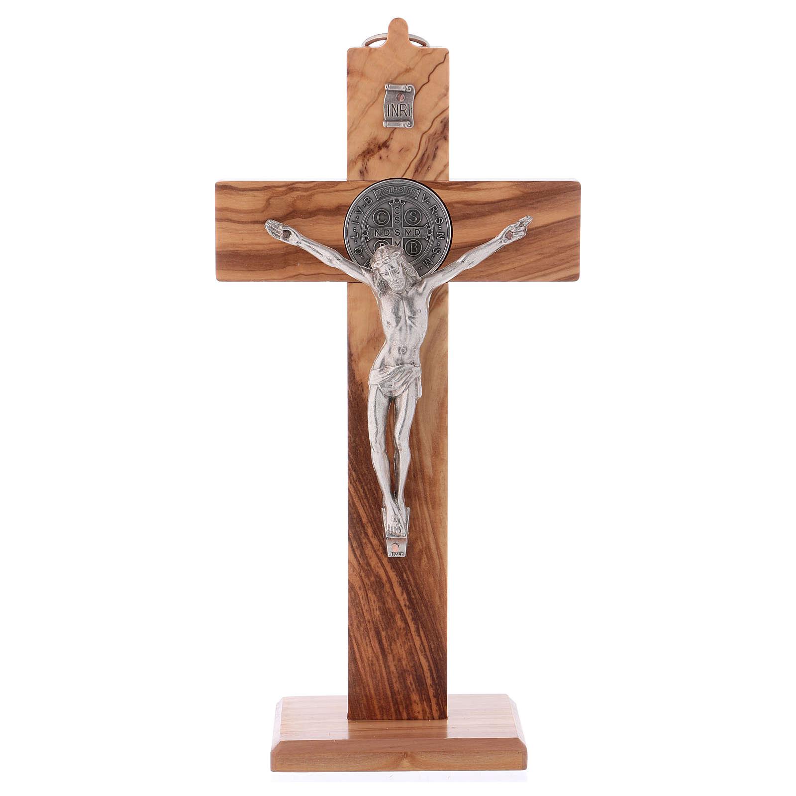Croix Saint Benoît bois d'olivier avec base 25x12 cm 4