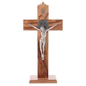 Croix Saint Benoît bois d'olivier avec base 25x12 cm s1