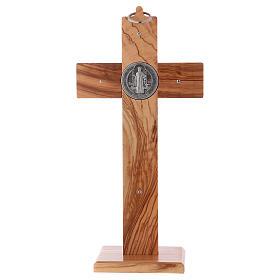 Croix Saint Benoît bois d'olivier avec base 25x12 cm s4