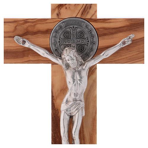 Croix Saint Benoît bois d'olivier avec base 25x12 cm 2