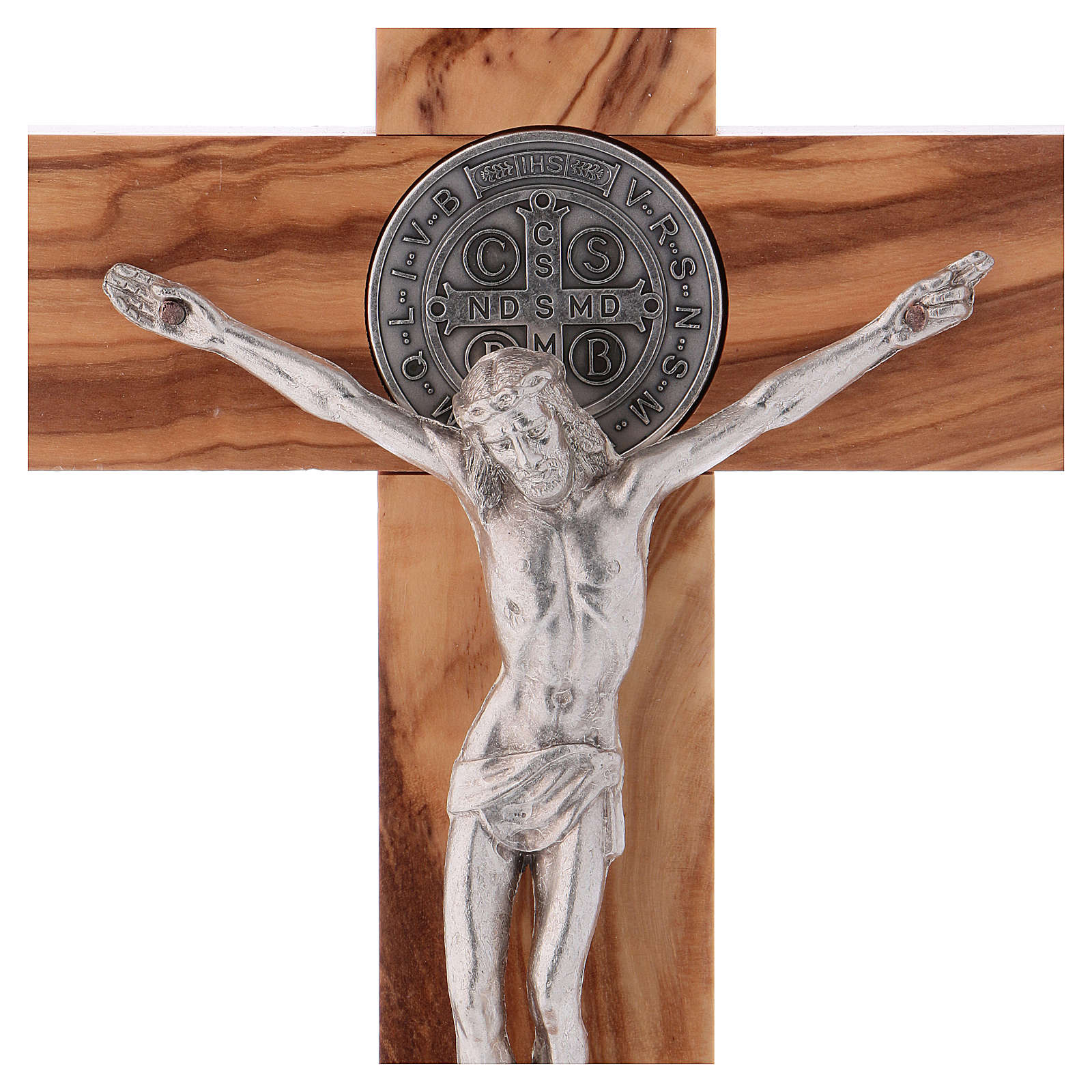 St. Benedict Cross in olive wood with base, 25x12 cm 4