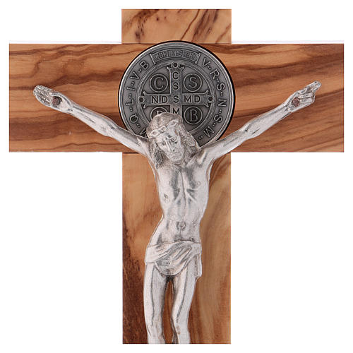 St. Benedict Cross in olive wood with base, 25x12 cm 2