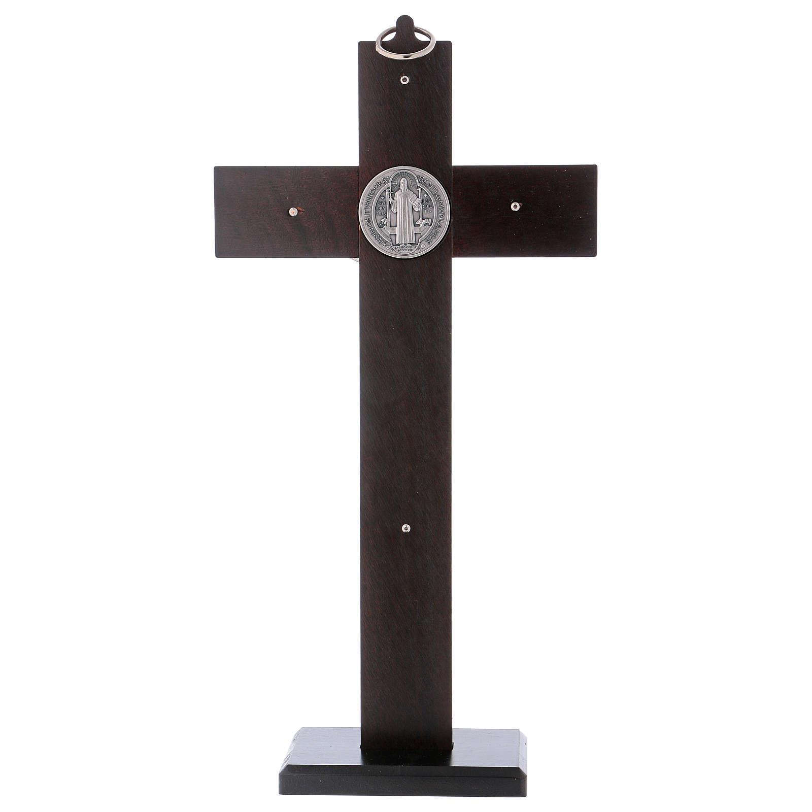 Croce San Benedetto Legno di noce con base 30x15 cm 4