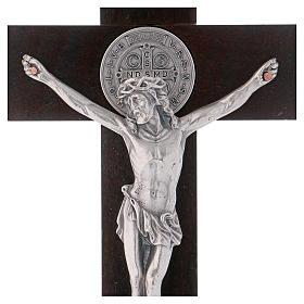 Croce San Benedetto Legno di noce con base 30x15 cm s2