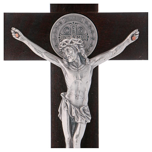 Croce San Benedetto Legno di noce con base 30x15 cm 2