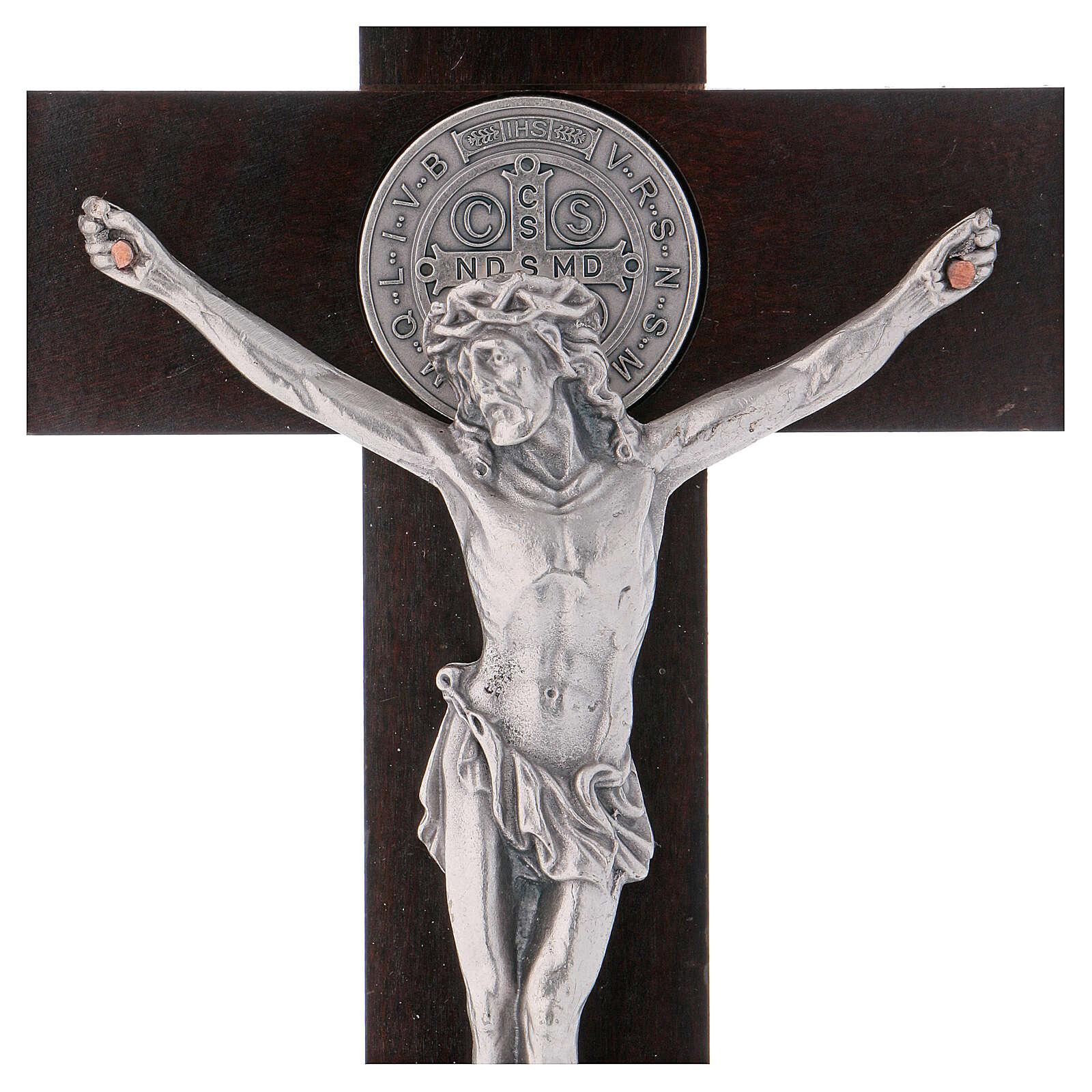 Cruz São Bento madeira de nogueira com base 30x15 cm 4