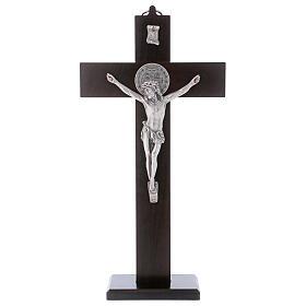 Cruz São Bento madeira de nogueira com base 30x15 cm s1