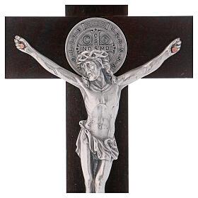 Cruz São Bento madeira de nogueira com base 30x15 cm s2