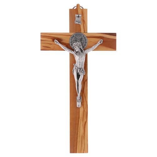 Kreuz von Sankt Benedikt aus Olivenbaumholz, 30 x 15 cm