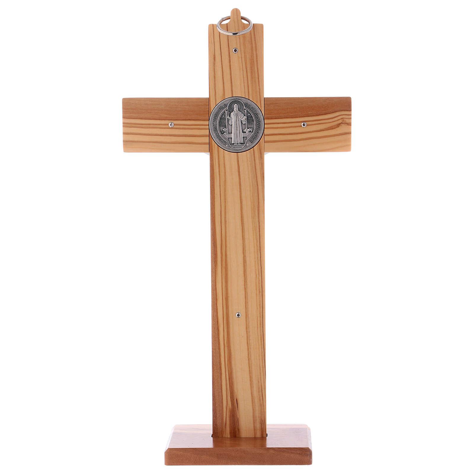 Cruz São Bento madeira de oliveira com base 30x15 cm 4
