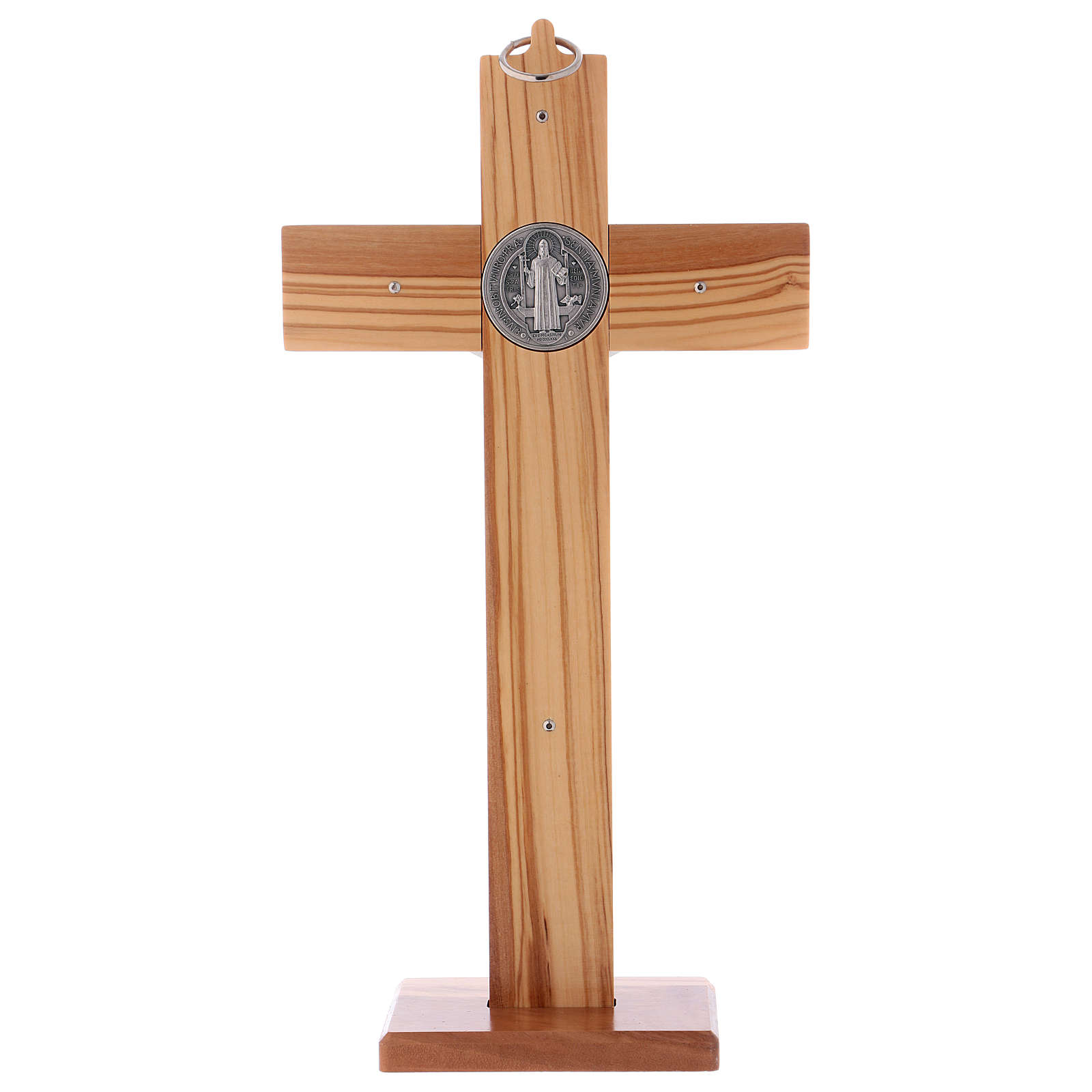 St. Benedict Cross in olive wood with base, 30x15 cm 4
