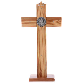 St. Benedict Cross in olive wood with base, 30x15 cm s4
