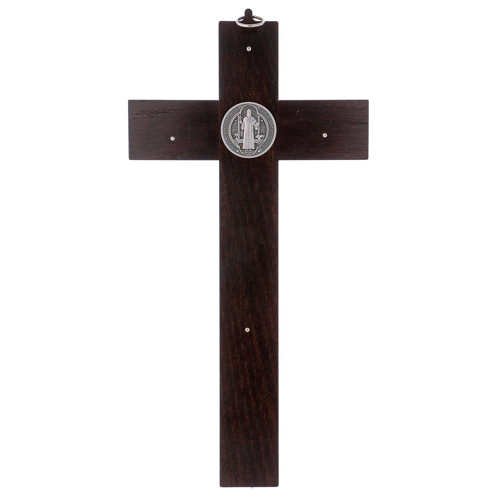 Croix Saint Benoît bois couleur noyer 40x20 cm 4