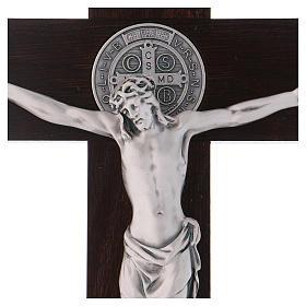 Croix Saint Benoît bois couleur noyer 40x20 cm s2