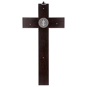 Croix Saint Benoît bois couleur noyer 40x20 cm s4