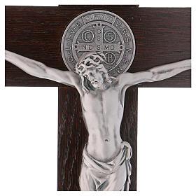 Croix Saint Benoît bois de noyer avec base 40x20 cm s2
