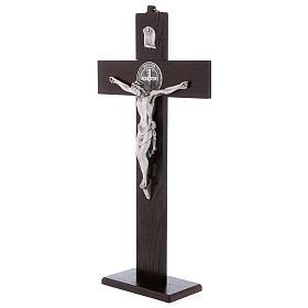 Croix Saint Benoît bois de noyer avec base 40x20 cm s3